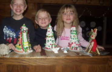 decorating candy christmas trees